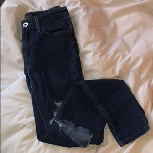 Levis Dark Wash Mid-High Rise Ripped Jeans
